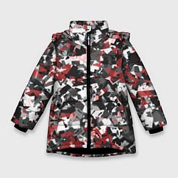Куртка зимняя для девочки Камуфляж: серый/красный цвета 3D-черный — фото 1