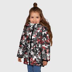 Куртка зимняя для девочки Камуфляж: серый/красный цвета 3D-черный — фото 2