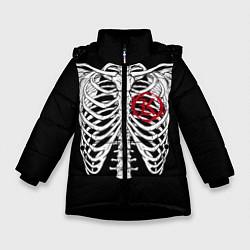 Куртка зимняя для девочки Кукрыниксы: Скелет цвета 3D-черный — фото 1
