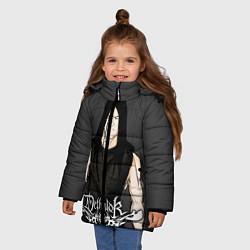 Детская зимняя куртка для девочки с принтом Dethklok Man, цвет: 3D-черный, артикул: 10134390706065 — фото 2