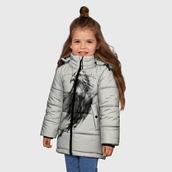 Детская зимняя куртка для девочки с принтом Дикий орел, цвет: 3D-черный, артикул: 10135213906065 — фото 2
