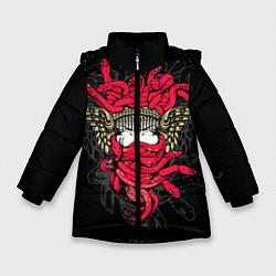 Куртка зимняя для девочки Горгона Медуза цвета 3D-черный — фото 1