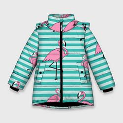 Куртка зимняя для девочки Полосатые фламинго цвета 3D-черный — фото 1