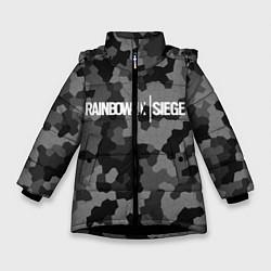 Куртка зимняя для девочки Rainbow Six: Grey Mozaic цвета 3D-черный — фото 1