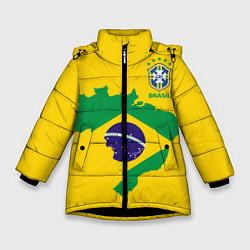 Куртка зимняя для девочки Сборная Бразилии: желтая цвета 3D-черный — фото 1