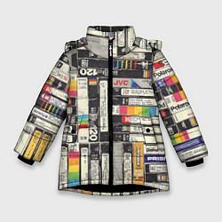 Куртка зимняя для девочки VHS-кассеты цвета 3D-черный — фото 1