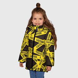 Детская зимняя куртка для девочки с принтом Police Caution, цвет: 3D-черный, артикул: 10149339106065 — фото 2