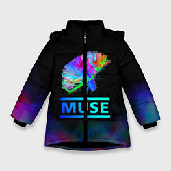 Куртка зимняя для девочки Muse: Neon Flower цвета 3D-черный — фото 1