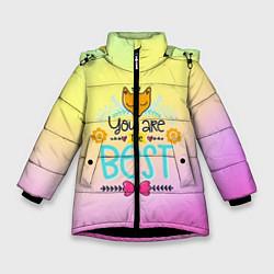 Куртка зимняя для девочки You are the best цвета 3D-черный — фото 1