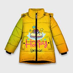 Куртка зимняя для девочки Happy Birthday цвета 3D-черный — фото 1