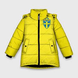 Куртка зимняя для девочки Сборная Швеции: Домашняя ЧМ-2018 цвета 3D-черный — фото 1