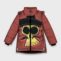 Детская зимняя куртка для девочки с принтом Dia de los Muertos, цвет: 3D-черный, артикул: 10152402306065 — фото 1