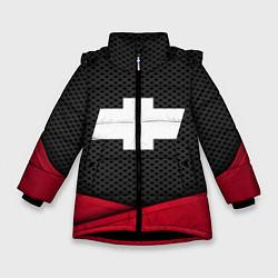 Куртка зимняя для девочки Chevrolet: Grey Carbon цвета 3D-черный — фото 1