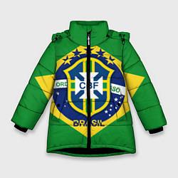 Детская зимняя куртка для девочки с принтом CBF Brazil, цвет: 3D-черный, артикул: 10153088306065 — фото 1