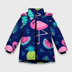 Куртка зимняя для девочки Фруктовый фламинго цвета 3D-черный — фото 1