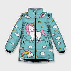 Куртка зимняя для девочки Сказочный единорог цвета 3D-черный — фото 1