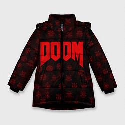 Куртка зимняя для девочки DOOM: Hellish signs цвета 3D-черный — фото 1
