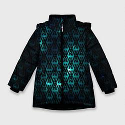 Куртка зимняя для девочки TES: Blue Pattern цвета 3D-черный — фото 1