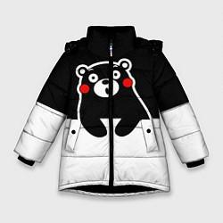 Детская зимняя куртка для девочки с принтом Kumamon Surprised, цвет: 3D-черный, артикул: 10162547706065 — фото 1