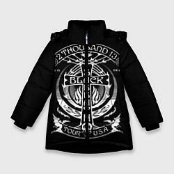 Куртка зимняя для девочки Black Sabbath: Tour USA цвета 3D-черный — фото 1