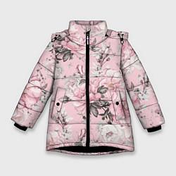 Куртка зимняя для девочки Розовые розы цвета 3D-черный — фото 1