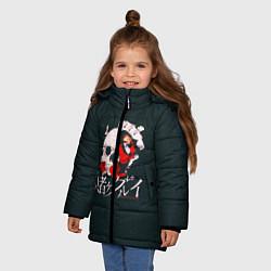 Детская зимняя куртка для девочки с принтом Безумный азарт, цвет: 3D-черный, артикул: 10171197706065 — фото 2
