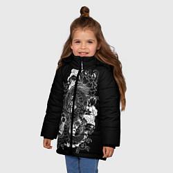 Куртка зимняя для девочки Японский дракон цвета 3D-черный — фото 2