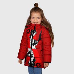 Куртка зимняя для девочки Дама бубен цвета 3D-черный — фото 2