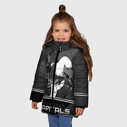 Детская зимняя куртка для девочки с принтом Washington Capitals: Mono, цвет: 3D-черный, артикул: 10178513306065 — фото 2