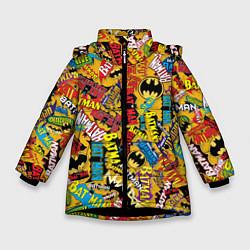 Куртка зимняя для девочки Batman logos цвета 3D-черный — фото 1