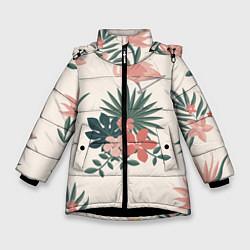 Куртка зимняя для девочки Розовый фламинго и цветы цвета 3D-черный — фото 1