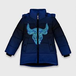 Куртка зимняя для девочки Знаки Зодиака Телец цвета 3D-черный — фото 1