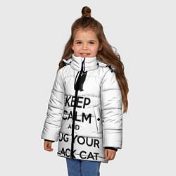 Куртка зимняя для девочки Обними своего черного кота - фото 2