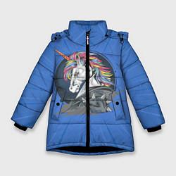 Куртка зимняя для девочки Единорог Rock цвета 3D-черный — фото 1
