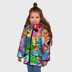 Куртка зимняя для девочки BRAWL STARS цвета 3D-черный — фото 2