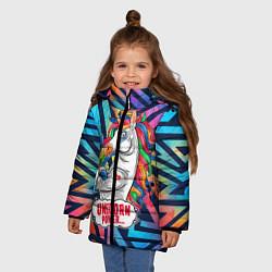 Куртка зимняя для девочки Unicorn Power Единорог цвета 3D-черный — фото 2