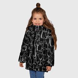 Куртка зимняя для девочки Стеклянный бармен цвета 3D-черный — фото 2