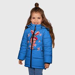 Детская зимняя куртка для девочки с принтом Милый Заяц, цвет: 3D-черный, артикул: 10230917506065 — фото 2