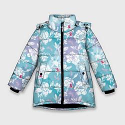 Куртка зимняя для девочки Mulan Flowers Pattern цвета 3D-черный — фото 1