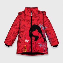 Куртка зимняя для девочки Mulan on Mushu Patten цвета 3D-черный — фото 1