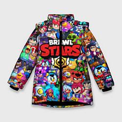 Куртка зимняя для девочки BRAWL STARS ВСЕ ПЕРСОНАЖИ цвета 3D-черный — фото 1