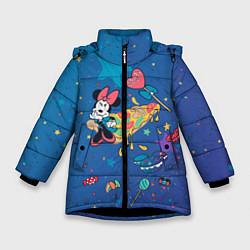 Детская зимняя куртка для девочки с принтом Минни Маус на пицце, цвет: 3D-черный, артикул: 10250061306065 — фото 1