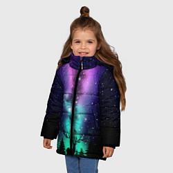 Куртка зимняя для девочки Силуэт оленя северное сияние цвета 3D-черный — фото 2