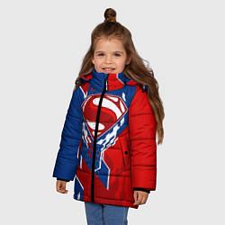 Куртка зимняя для девочки Знак Супермен цвета 3D-черный — фото 2