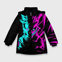 Куртка зимняя для девочки НЕОН НАРУТО цвета 3D-черный — фото 1