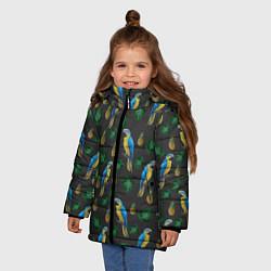 Куртка зимняя для девочки Попугай Ара цвета 3D-черный — фото 2