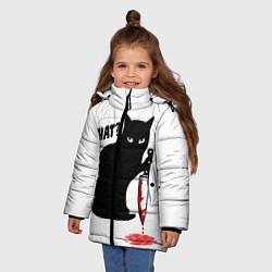Куртка зимняя для девочки What Cat цвета 3D-черный — фото 2