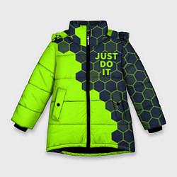 Куртка зимняя для девочки JUST DO IT цвета 3D-черный — фото 1