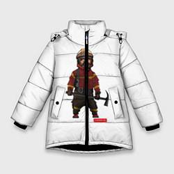 Куртка зимняя для девочки Пожарное Делопожарный,белая цвета 3D-черный — фото 1