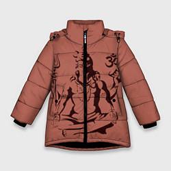 Куртка зимняя для девочки Бог Шива цвета 3D-черный — фото 1